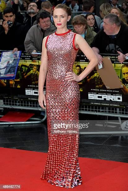 Emily Blunt attends the UK Premiere of 'Sicario' at Empire Leicester Square on September 21 2015 in London England