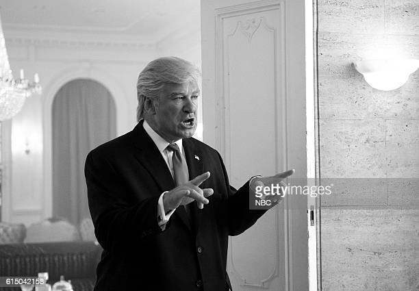 LIVE 'Emily Blunt' Episode 1707 Pictured Alec Baldwin as Donald Trump during the 'Melanianade' sketch on October 15 2016