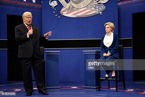 LIVE 'Emily Blunt' Episode 1707 Pictured Alec Baldwin as Republican Presidential Candidate Donald Trump and Kate McKinnon as Democratic Presidential...