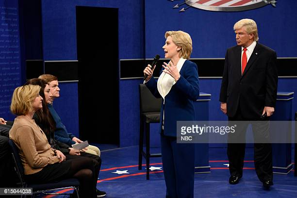 LIVE 'Emily Blunt' Episode 1707 Pictured Kate McKinnon as Democratic Presidential Candidate Hillary Clinton and Alec Baldwin as Republican...