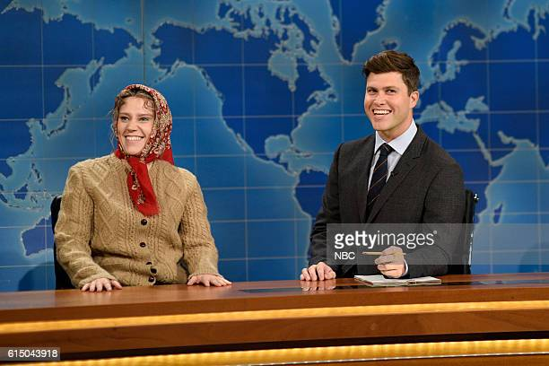 LIVE 'Emily Blunt' Episode 1707 Pictured Kate McKinnon as Olya Povlotasky and Colin Jost during Weekend Update on October 15 2016