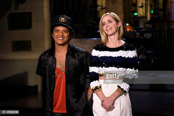 LIVE 'Emily Blunt' Episode 1707 Pictured Musical guest Bruno Mars and host Emily Blunt on October 13 2016