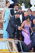 Emily Blunt John Krasinski Matt Damon and Luciana Damon attends the wedding party for the wedding of George Clooney and Amal Alamuddin on September...