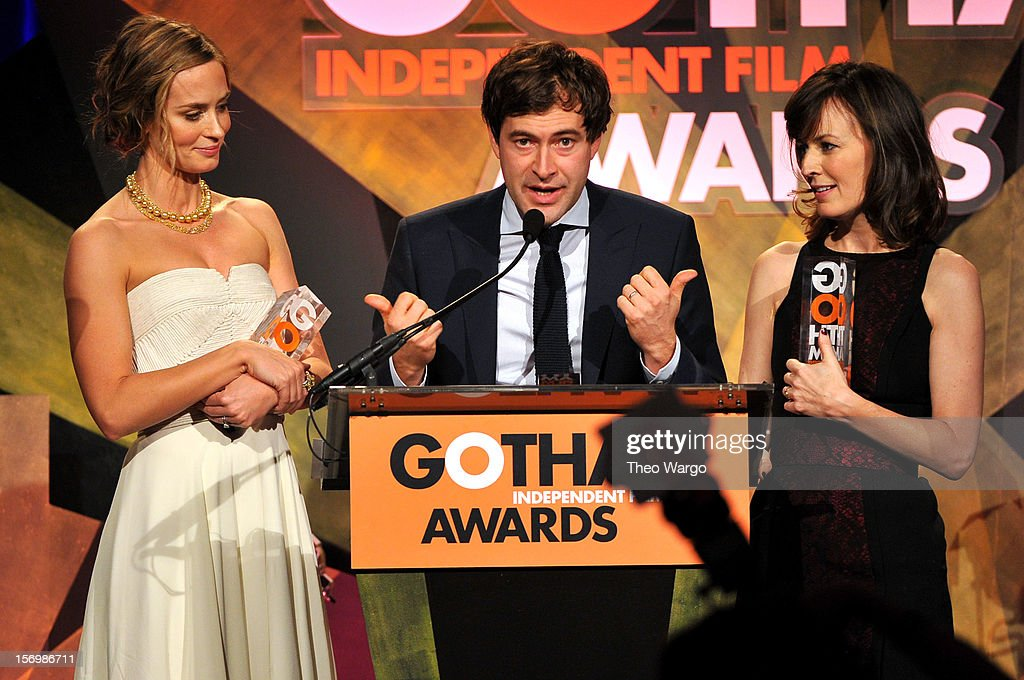 Emily Blunt, Mark Duplass, and Rosemarie DeWitt speak onstage at the IFP's 22nd Annual Gotham Independent Film Awards at Cipriani Wall Street on November 26, 2012 in New York City.