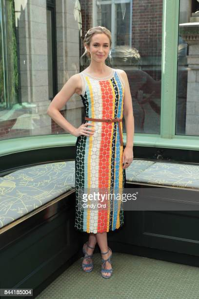 Emily Blunt poses backstage during the Tory Burch Spring Summer 2018 Fashion Show at Cooper Hewitt Smithsonian Design Museum on September 8 2017 in...