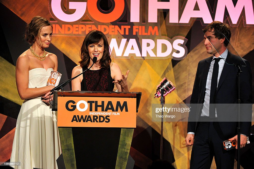 Emily Blunt, Rosemarie DeWitt, and Mark Duplass speak onstage at the IFP's 22nd Annual Gotham Independent Film Awards at Cipriani Wall Street on November 26, 2012 in New York City.