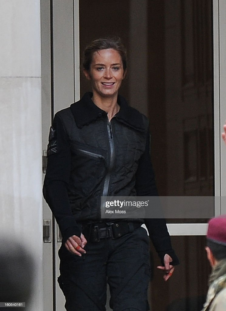 <a gi-track='captionPersonalityLinkClicked' href=/galleries/search?phrase=Emily+Blunt&family=editorial&specificpeople=213480 ng-click='$event.stopPropagation()'>Emily Blunt</a> seen on the film set of 'All You Need Is Kill' on February 2, 2013 in London, England.