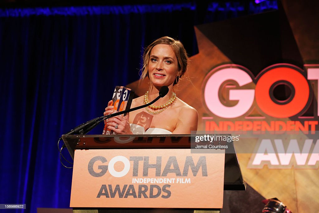 Emily Blunt speaks onstage at the IFP's 22nd Annual Gotham Independent Film Awards at Cipriani Wall Street on November 26, 2012 in New York City.