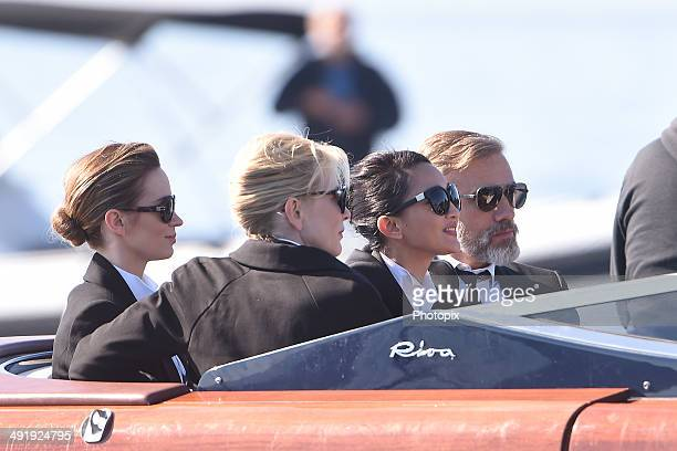 Emily Blunt Zhou Xun and Cate Blanchett and Christoph Waltz are seen while filming for the International Watch Company on May 18 2014 in Portofino...