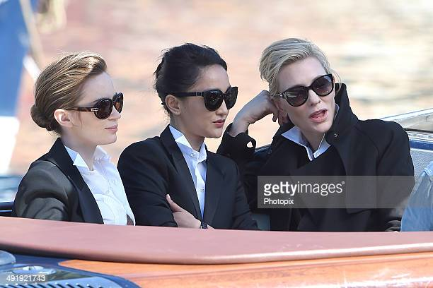 Emily Blunt Zhou Xun and Cate Blanchett are seen while filming for the International Watch Company on May 18 2014 in Portofino Italy