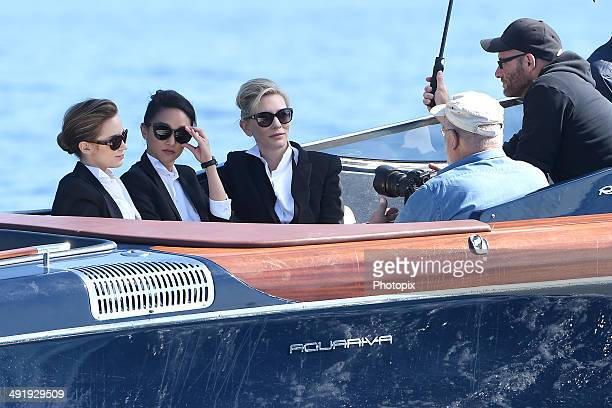 Emily Blunt Zhou Xun Cate Blanchett and Peter Lindbergh are seen while filming for the International Watch Company on May 18 2014 in Portofino Italy