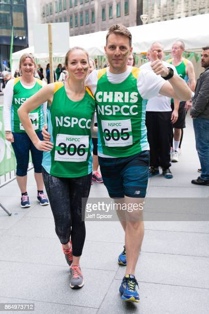Emily Bowker and Chris Harper take part in the Gherkin Challenge for the NSPCC at The Gherkin on October 22 2017 in London England