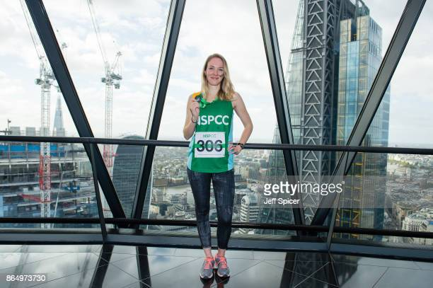 Emily Bowker takes part in the Gherkin Challenge for the NSPCC at The Gherkin on October 22 2017 in London England