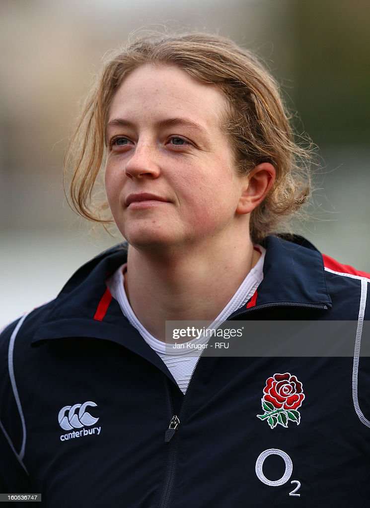 Emily Braund of England Women lines up for the anthem during the Womens Six Nations match between England and Scotland at Esher RFC on February 2, 2013 in Esher, England.