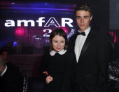 Emily Browning and Max Irond attend the amfAR Inspiration Gala at Pavillon Gabriel on June 23 2011 in Paris France