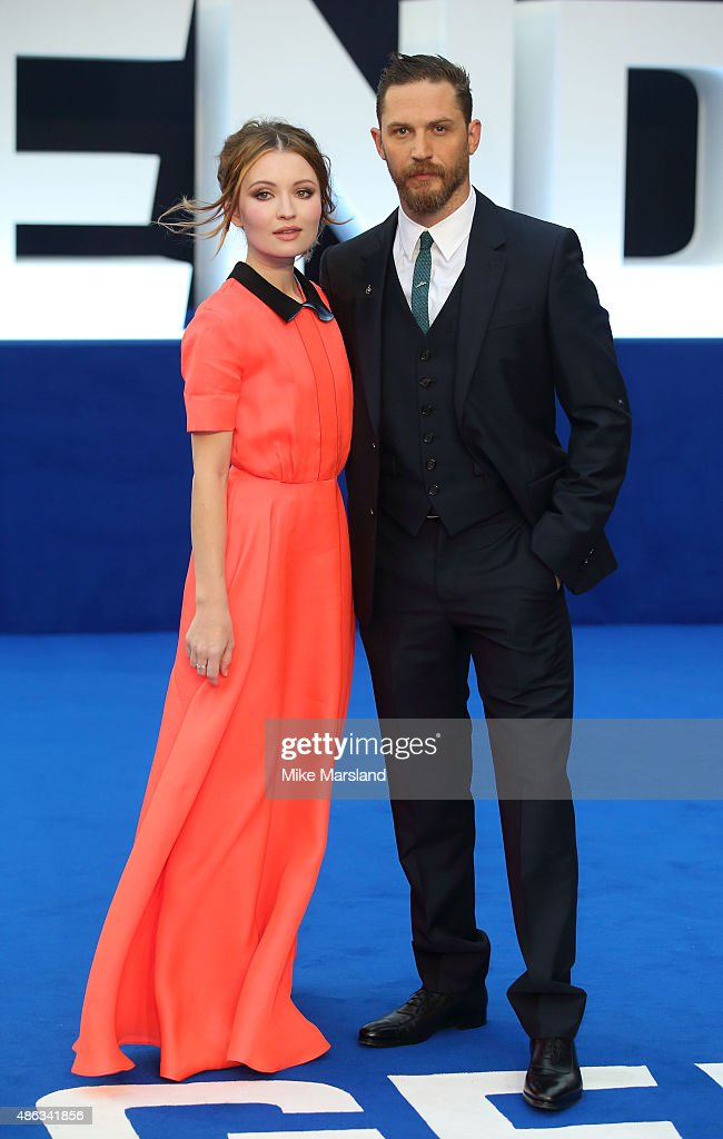 Emily Browning and Tom Hardy attend the UK Premiere of 'Legend' at Odeon Leicester Square on September 3, 2015 in London, England.