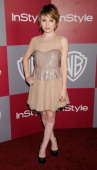 Emily Browning arrives at the 12th Annual Warner Bros and Instyle PostGolden Globe Party at the Beverly Hilton Hotel on January 16 2011 in Beverly...