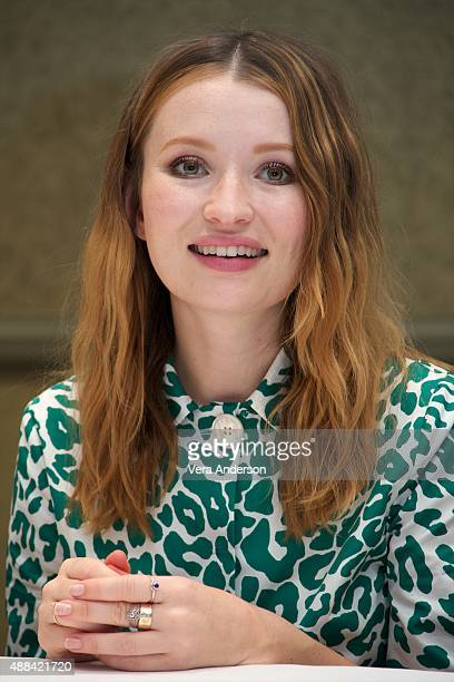 Emily Browning at the 'Legend' Press Conference at the Park Hyatt on September 13 2015 in Toronto Ontario