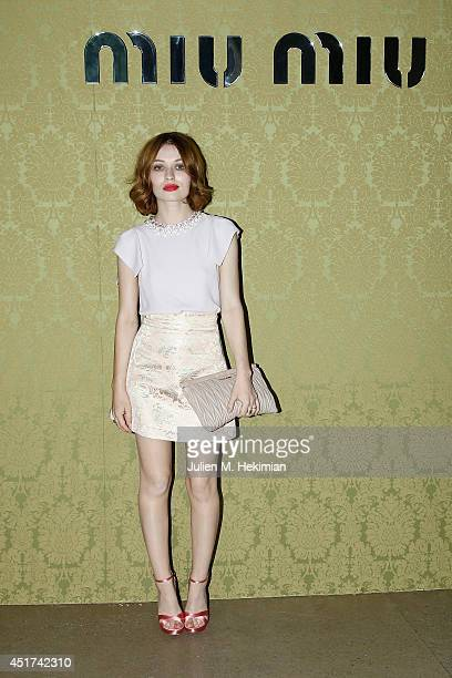 Emily Browning attends the Miu Miu Resort Collection 2015 at Palais d'Iena on July 5 2014 in Paris France