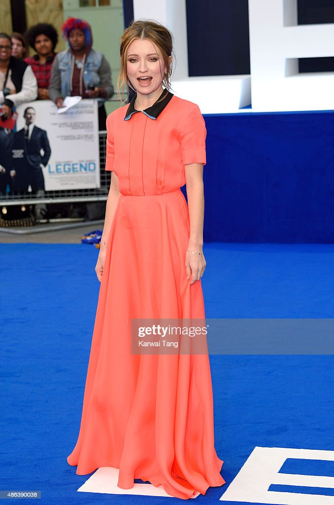 Emily Browning attends the world premiere of 'Legend' at Odeon Leicester Square on September 3, 2015 in London, England.