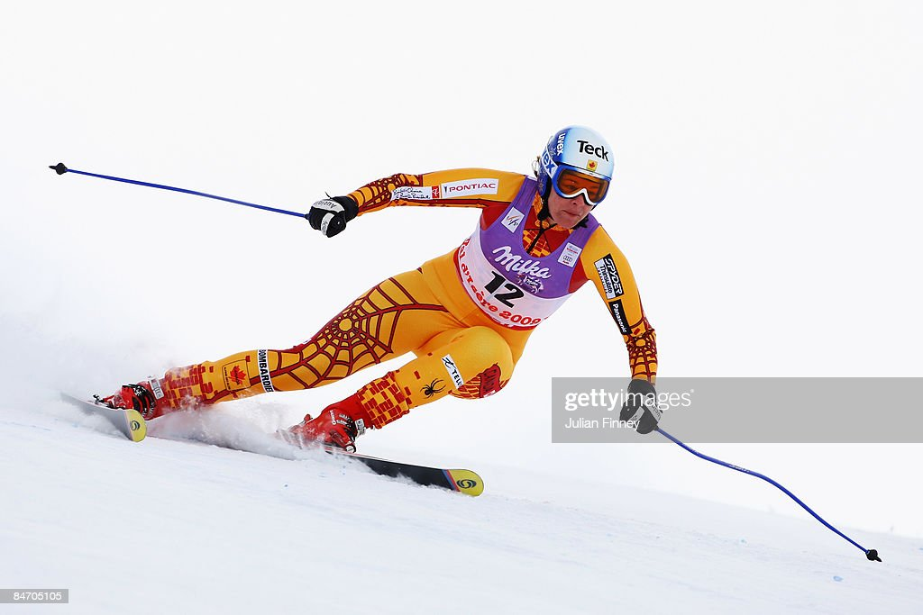 Emily Brydon of Canada skis during the Women's Downhill event held on the Face de Solaise course on February 9, 2009 in Val d'Isere, France.
