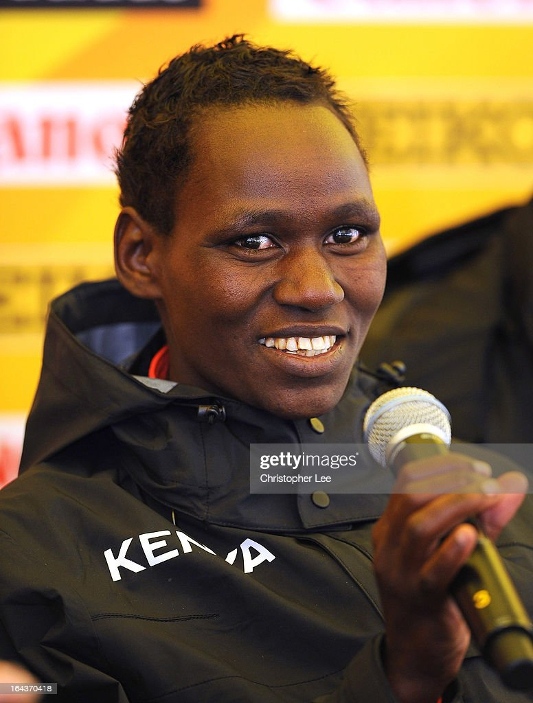 Emily Chebet of <b>Kenya talks</b> to the media during the 40th IAAF World Cross <b>...</b> - emily-chebet-of-kenya-talks-to-the-media-during-the-40th-iaaf-world-picture-id164370418