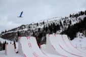 Emily Cook competes during qualifying for the Womens Aerials at the FIS Freestyle Ski World Cup Aerial Competition at Deer Valley on January 10 2014...