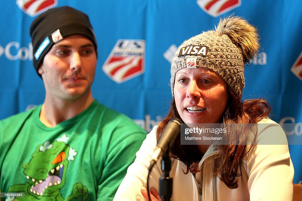 Emily Cook fields questions from the media at a press conference for the US Freestyle Team during the Visa Freestyle International at Deer Valley on January 30, 2013 in Park City, Utah.