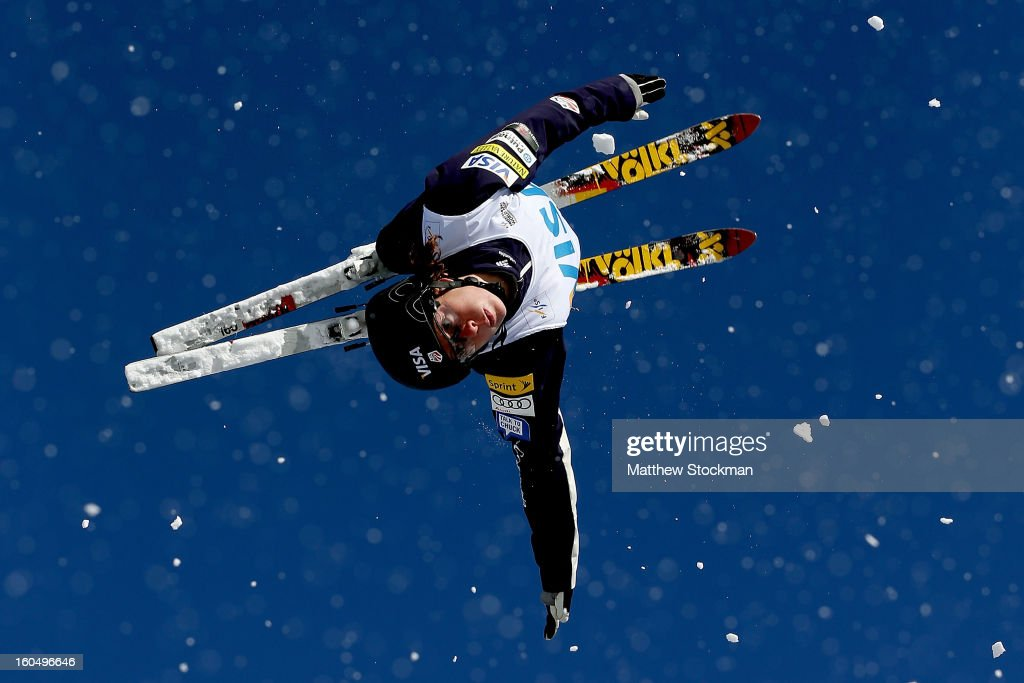 Emily Cook #6 jumps while training for the Ladies Aerials during the Visa Freestyle International at Deer Valley on February 1, 2013 in Park City, Utah.
