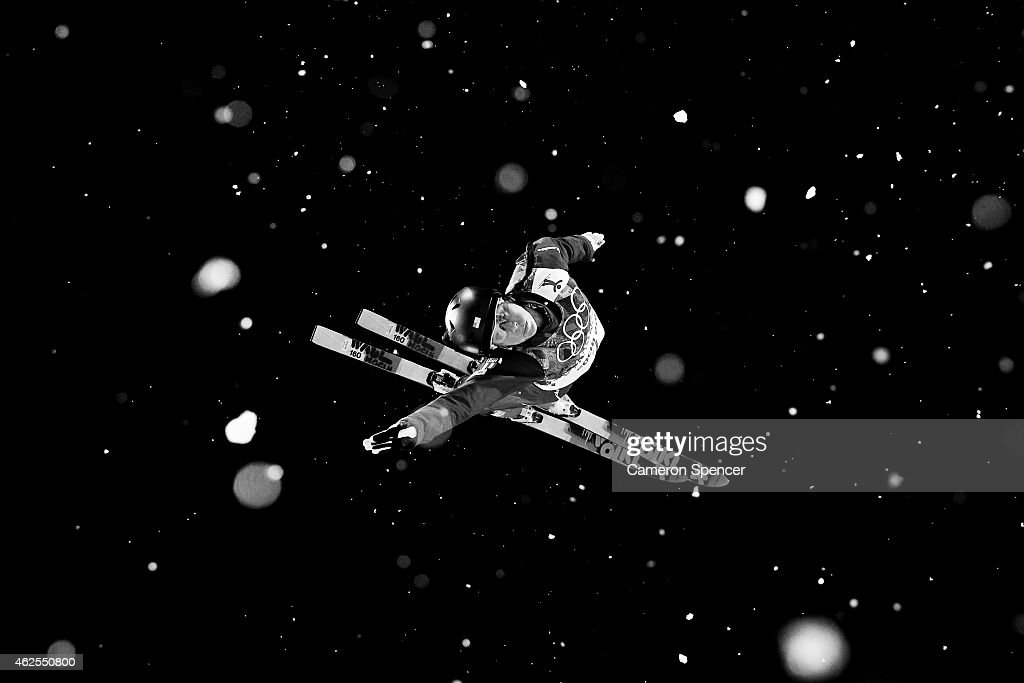 <a gi-track='captionPersonalityLinkClicked' href=/galleries/search?phrase=Emily+Cook&family=editorial&specificpeople=194935 ng-click='$event.stopPropagation()'>Emily Cook</a> of the United States practices ahead of the Freestyle Skiing Ladies' Aerials Finals on day seven of the Sochi 2014 Winter Olympics at Rosa Khutor Extreme Park on February 14, 2014 in Sochi, Russia.