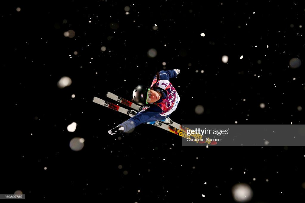 Emily Cook of the United States practices ahead of the Freestyle Skiing Ladies' Aerials Finals on day seven of the Sochi 2014 Winter Olympics at Rosa...