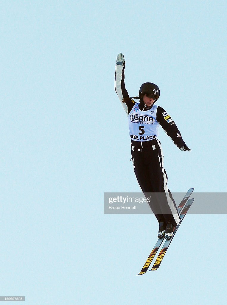 Emily Cook #5 of the USA competes in the qualification round of the USANA Freestyle World Cup aerial competition at the Lake Placid Olympic Jumping Complex on January 18, 2013 in Lake Placid, New York.