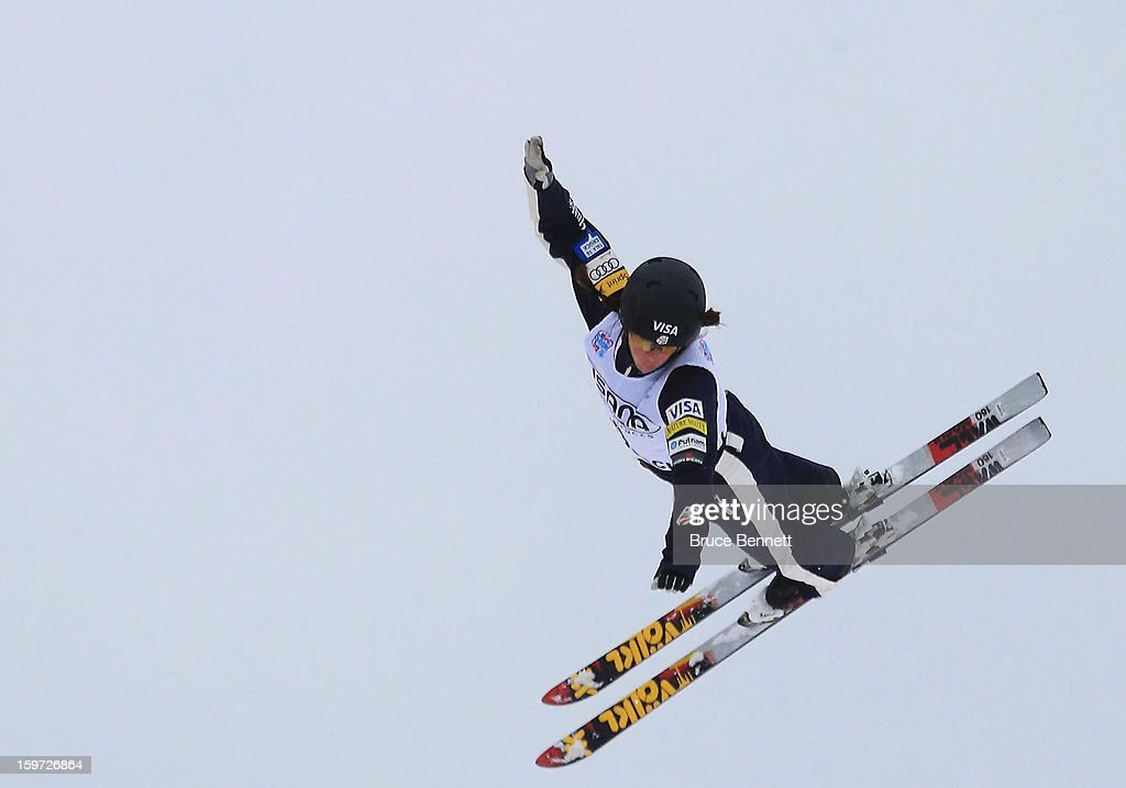 Emily Cook #4 of the USA jumps in the qualification round of the USANA Freestyle World Cup aerial competition at the Lake Placid Olympic Jumping Complex on January 19, 2013 in Lake Placid, New York.