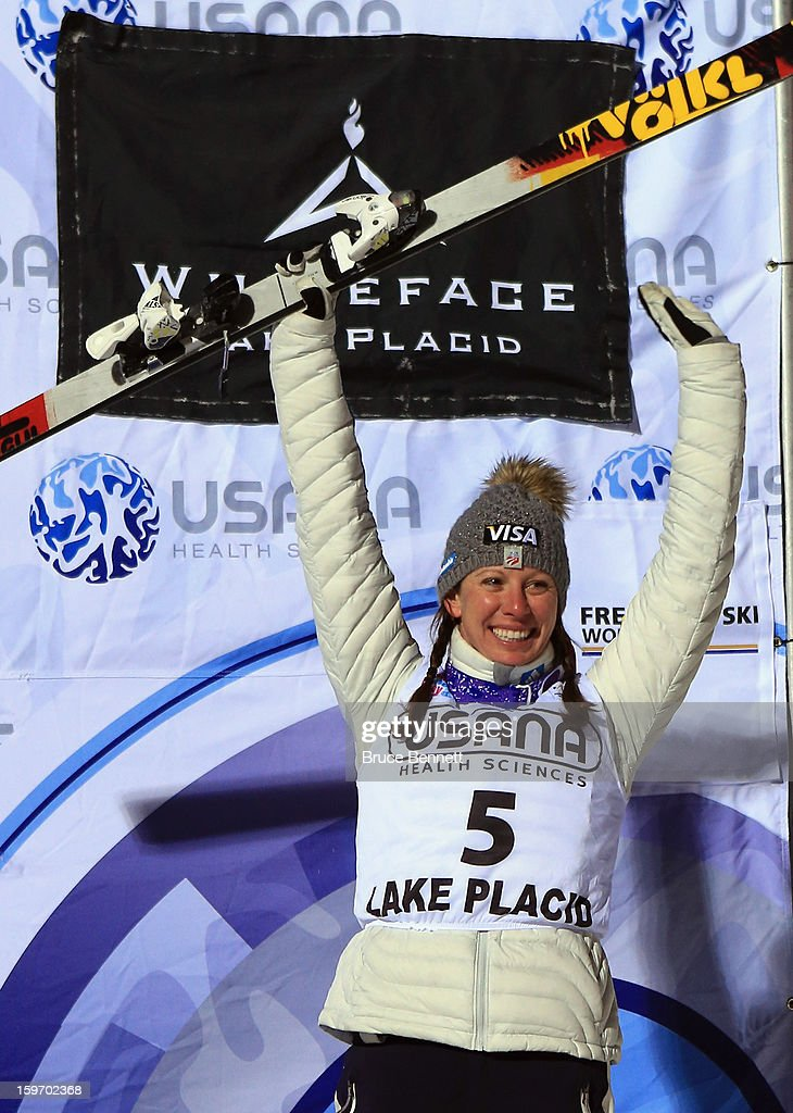 Emily Cook #5 of the USA takes third place in the USANA Freestyle World Cup aerial competition at the Lake Placid Olympic Jumping Complex on January 18, 2013 in Lake Placid, New York.