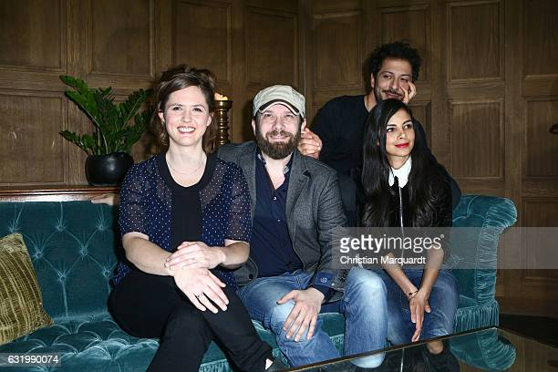 Emily Cox Christian Ulmen Collien UlmenFernandes and Farih Yardim the cast of the series attend the the photocall for the series 'Jerks' at Soho...