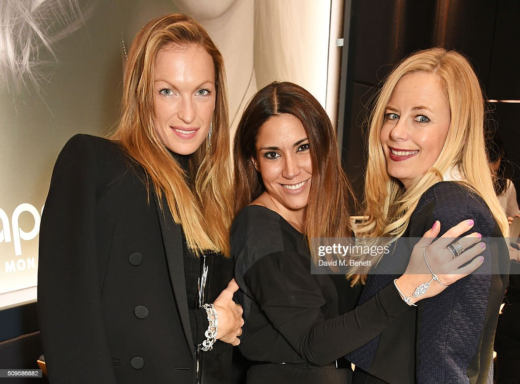 Emily Crompton-Candy, Lily Hodges and Astrid Harbord attends the APM Monaco flagship store opening on South Molton Street on February 11, 2016 in London, England.