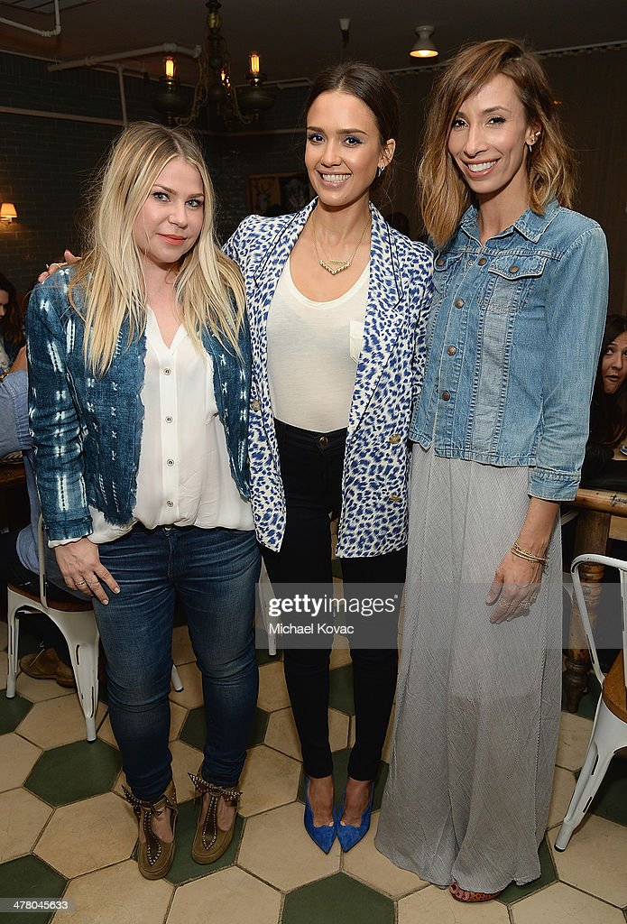 Emily Current, <a gi-track='captionPersonalityLinkClicked' href=/galleries/search?phrase=Jessica+Alba&family=editorial&specificpeople=201811 ng-click='$event.stopPropagation()'>Jessica Alba</a>, and Meritt Elliott attend Anthropologie Celebrates A Denim Story by Emily Current, Meritt Elliott and Hilary Walsh at PaliHotel on March 11, 2014 in Los Angeles, California.