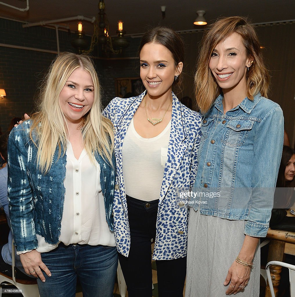 Emily Current, Jessica Alba, and Meritt Elliott attend Anthropologie Celebrates A Denim Story by Emily Current, Meritt Elliott and Hilary Walsh at PaliHotel on March 11, 2014 in Los Angeles, California.