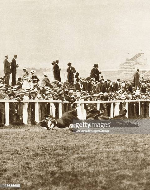 Emily Davison English suffragette throwing herself in front of George V's horse Anmer during 1913 Derby in attempt to gain recognition for...