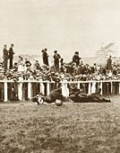 Emily Davison throwing herself in front of horse, 1913 Derby, England