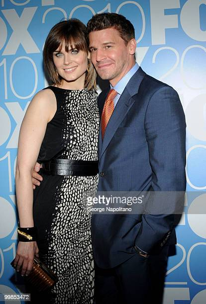 Emily Deschanel and David Boreanaz attends the 2010 FOX UpFront after party at Wollman Rink Central Park on May 17 2010 in New York City