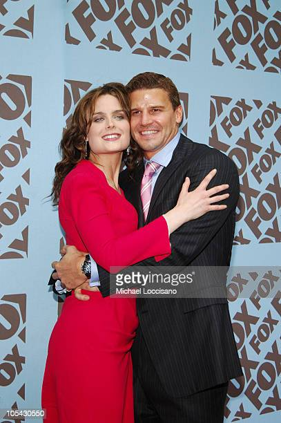 Emily Deschanel and David Boreanaz during 2005/2006 FOX Prime Time UpFront Arrivals in New York City New York United States