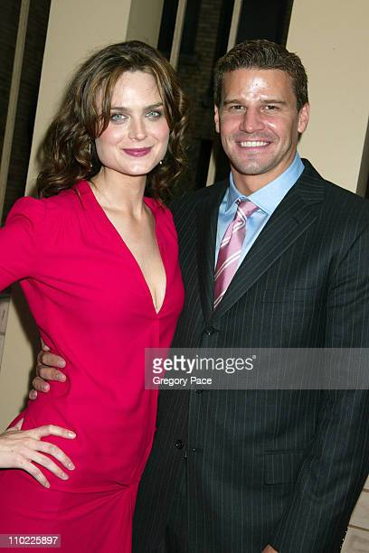 Emily Deschanel and David Boreanaz during 2005/2006 FOX Prime Time UpFront Inside Green Room and Party at Seppi's Restaurant and Central Park...