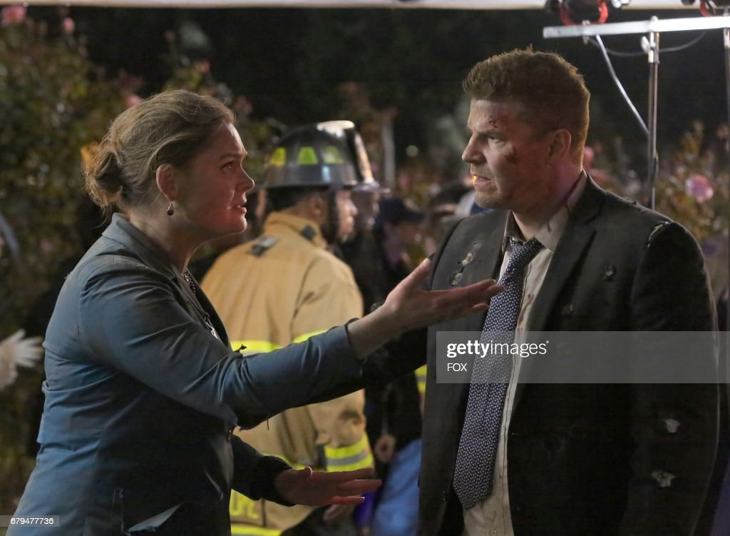 Emily Deschanel and David Boreanaz in 'The Final Chapter: The End in the End' series finale episode of BONES airing Tuesday, March 28 (9:01-10:00 PM ET/PT) on Fox.