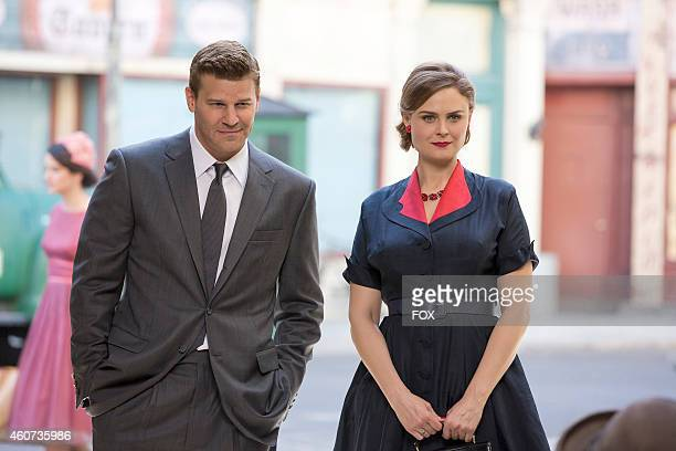Emily Deschanel and David Boreanaz in the 'The 200th in the 10th' 200th episode of BONES airing Thursday Dec 11 2014 on FOX