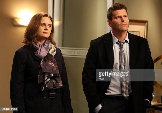 Emily Deschanel and David Boreanaz in the The Head in the Abutment episode of BONES airing Thursday June 16 on FOX