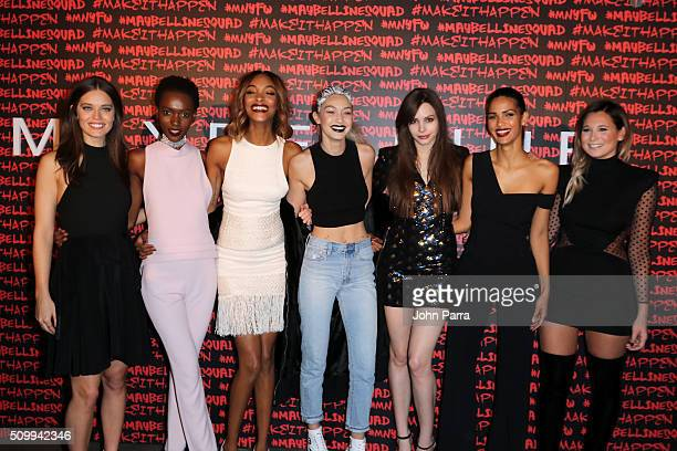 Emily DiDonato Herieth Paul Jourdan Dunn Gigi Hadid Kemp Muhl Cris Urena and Danielle Bernstein attend Maybelline New York celebrates fashion week at...