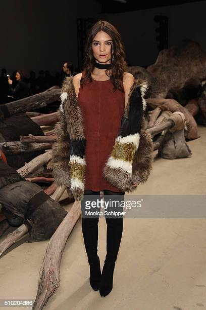 Emily Emily Ratajkowski attends the Public School Fall 2016 fashion show during New York Fashion Week on February 14 2016 in New York City