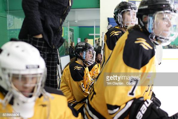 Emily Field Boston Pride watching from the bench during the Connecticut Whale vs Boston Pride National Women's Hockey League game at Chelsea Piers...