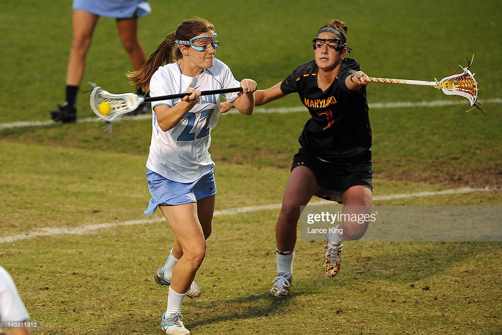 Emily Garrity #22 of the North Carolina Tar Heels take a shot on goal against the Maryland Terrapins during the finals of the 2012 Women's ACC Tournament at Koskinen Stadium on April 23, 2012 in Durham, North Carolina.